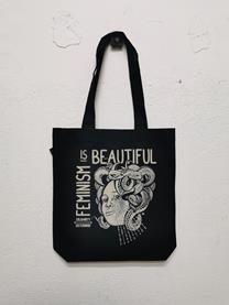 Feminism is beautiful - BOSSA TOTE - Eco Fair - Negra | Alhama Molina